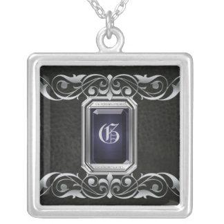Grand Duchess Black Jewel Silver Scroll Necklace
