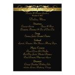 Grand Duchess Black Scroll Wedding Menu 5x7 Paper Invitation Card