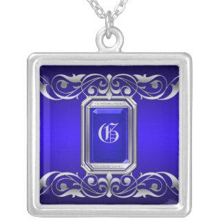 Grand Duchess Blue Jewel Silver Scroll Necklace