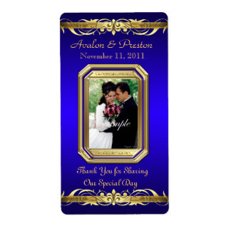 Grand Duchess Blue Photo Gold Wine Wedding Label