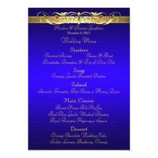 Grand Duchess Blue Scroll Wedding Menu 5x7 Paper Invitation Card