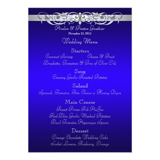 Grand Duchess Blue Scroll Wedding Menu Invitations