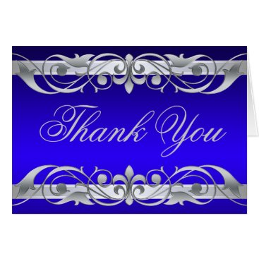 Professional Business Grand Duchess Blue & Silver Thank You NoteCard