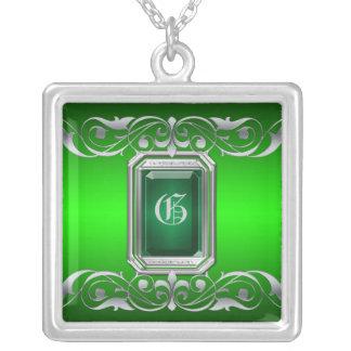 Grand Duchess Emerald Jewel Silver Scroll Necklace