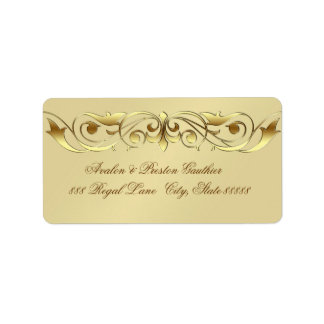 Grand Duchess Faux Gold Scroll Address Labels