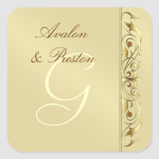 Grand Duchess Faux Gold Scroll Monogram Sticker