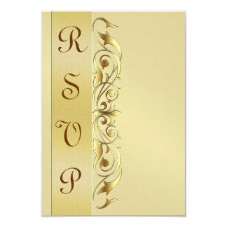 "Grand Duchess Gold Metal RSVP Response Invite 3.5"" X 5"" Invitation Card"