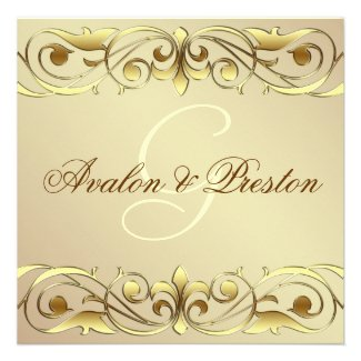 Grand Duchess Gold Metal Scroll Invitation