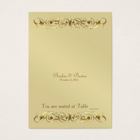 Grand Duchess Gold Metal Scroll Table Placecard Business Card