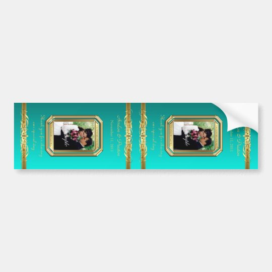 Grand Duchess Gold Scroll Large Teal Wine Label