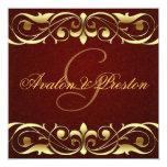 Grand Duchess Gold Scroll Leather Invitation