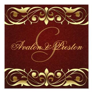 """Grand Duchess Gold Scroll Leather Invitation 5.25"""" Square Invitation Card"""