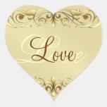 Grand Duchess Gold Scroll Love Heart Stickers