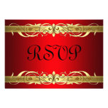 Grand Duchess Gold Scroll Red RSVP Card Personalized Invitation
