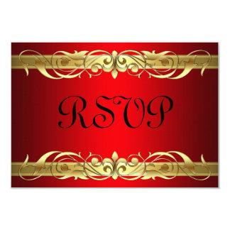 "Grand Duchess Gold Scroll Red RSVP Card 3.5"" X 5"" Invitation Card"