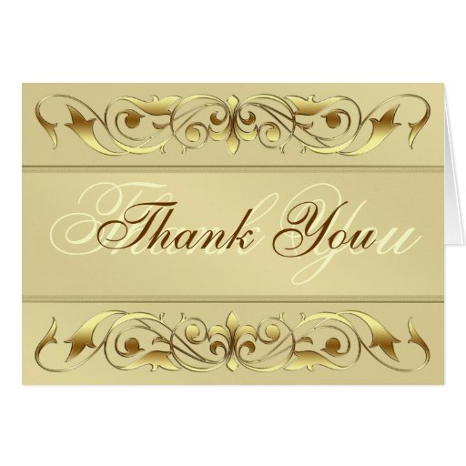 Grand Duchess Gold Scroll Thank You Notecard Card