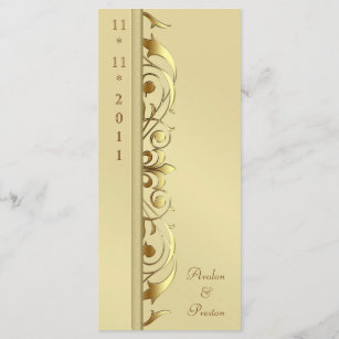 gold scroll wedding programs zazzle