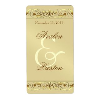 Grand Duchess Gold Scroll Wine Wedding Label