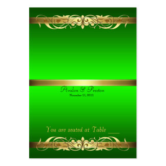 Grand Duchess Green Gold Scroll Table Placecard Large Business Card