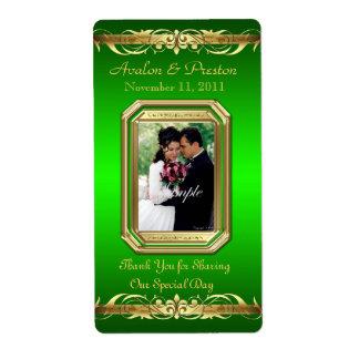 Grand Duchess Green Photo Gold Wine Wedding Label