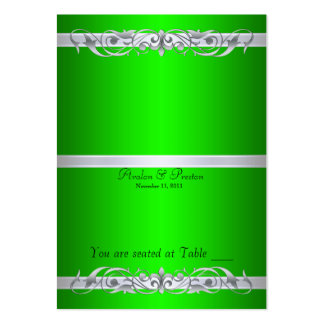 Grand Duchess Green Scroll Folding Table Placecard Large Business Cards (Pack Of 100)