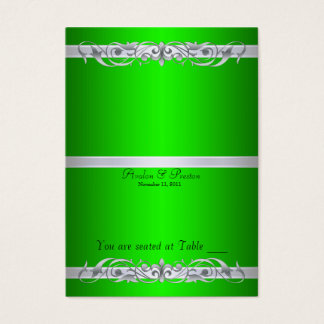 Grand Duchess Green Scroll Folding Table Placecard Business Card