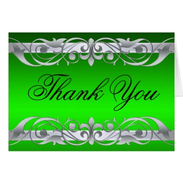 Professional Business Grand Duchess Green & Silver Thank You NoteCard