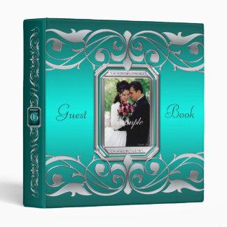 Grand Duchess Jewel Scroll Teal Guest Book Binder
