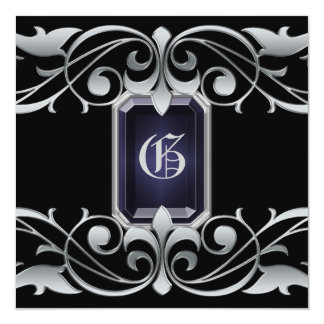 "Grand Duchess Onyx Jewel Silver Regency Invitation 5.25"" Square Invitation Card"