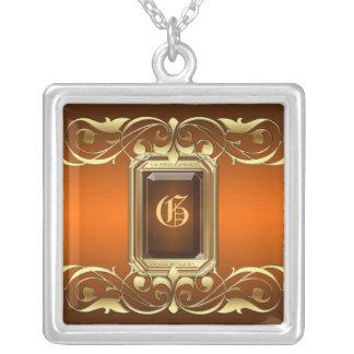 Grand Duchess Orange Jewel Gold Scroll Necklace