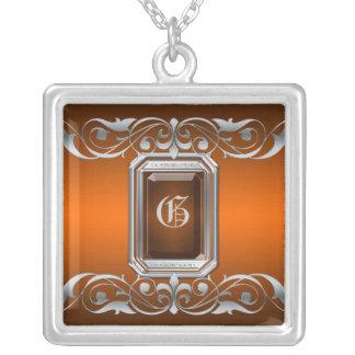 Grand Duchess Orange Jewel Silver Scroll Necklace