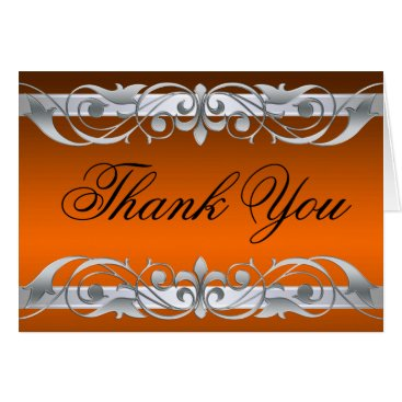 Professional Business Grand Duchess Orange & Silver Thank You NoteCard