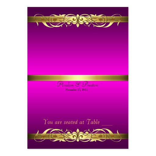 Grand Duchess Pink & Gold Scroll Table Placecard Business Card
