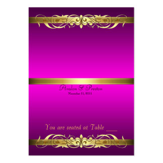 Grand Duchess Pink & Gold Scroll Table Placecard Large Business Card