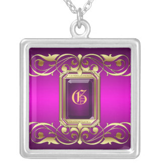 Grand Duchess Pink Jewel Gold Scroll Necklace