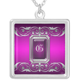 Grand Duchess Pink Jewel Silver Scroll Necklace