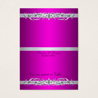 Grand Duchess Pink Scroll Folding Table Placecard Business Card