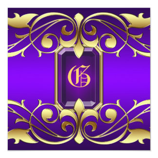 "Grand Duchess Purple Jewel Gold Scroll Invitation 5.25"" Square Invitation Card"