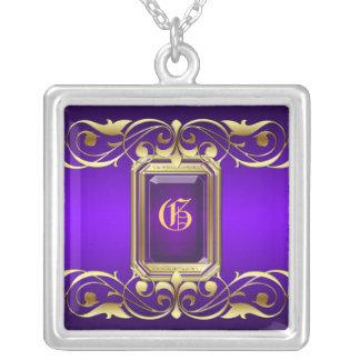 Grand Duchess Purple Jewel Gold Scroll Necklace