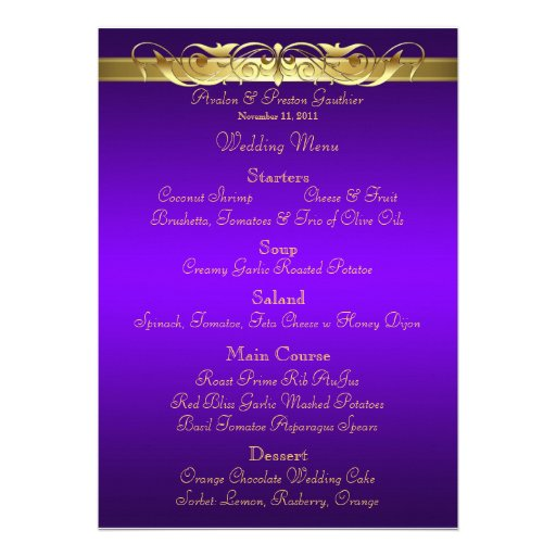 Grand Duchess Purple Scroll Wedding Menu Custom Announcement