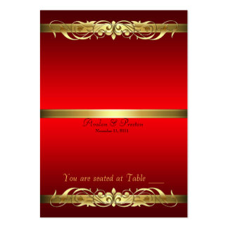 Grand Duchess Red & Gold Scroll Table Placecard Large Business Cards (Pack Of 100)