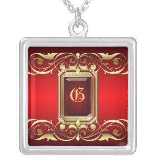Grand Duchess Red Jewel Gold Scroll Necklace
