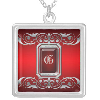 Grand Duchess Red Jewel Silver Scroll Necklace