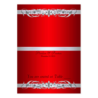 Grand Duchess Red Scroll Folding Table Placecard Large Business Cards (Pack Of 100)