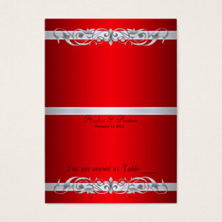 Grand Duchess Red Scroll Folding Table Placecard Business Card