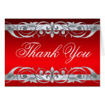 Grand Duchess Red & Silver Thank You NoteCard Greeting Cards