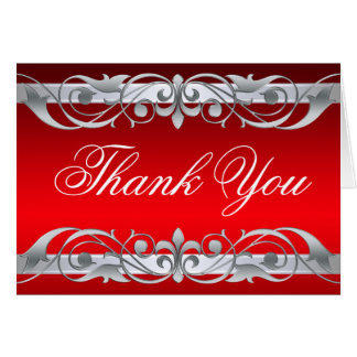 Grand Duchess Red & Silver Thank You NoteCard