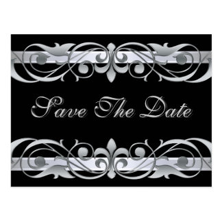 Grand Duchess Silver  Black Save The Date Postcard