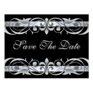 Grand Duchess Silver  Black Save The Date Postcard