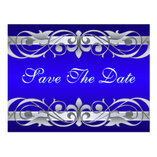 Grand Duchess Silver & Blue Save The Date Postcard
